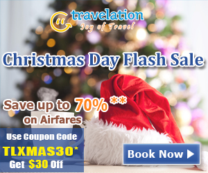 Christmas Day Flight Sale. Book Now and get 70% off also take $30 Off with Coupon Code – TLXMAS30.