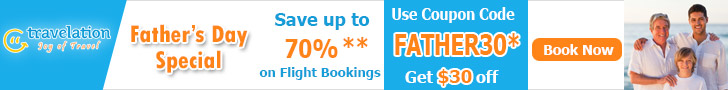 Spectacular Father's Day Travel Deals. Book In Advance and Get $15 Off with coupon code FATHER15. Hurry! Offer Valid for Limited Period Only!