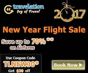 New Year Flight Sale. Book Now and get 70% off also take $30 Off with Coupon Code – TLNEW30.